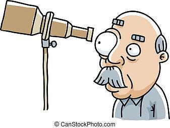 Telescope View - A cartoon man looking through his...