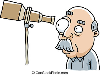 Telescope View - A cartoon man looking through his...