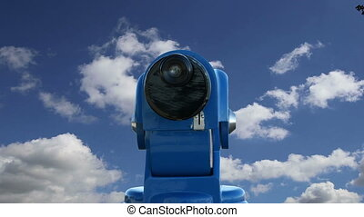 telescope viewer against the sky   (time lapse)