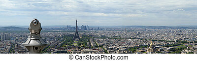 Telescope viewer and city skyline at daytime. Paris, France. Taken from the tour Montparnasse with the Eiffel Tower, Le Grande Palais, Les Halles, St. Eustace & La Defense clearly visible