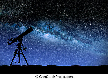Telescope watching the wilky way - Illustration of a ...