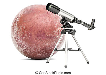 Telescope with Mars, 3D rendering