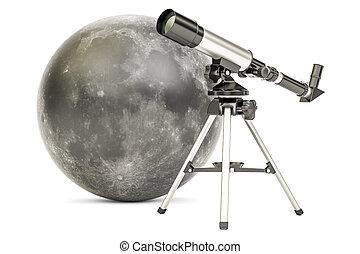 Telescope with moon, 3D rendering