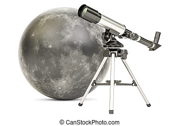 Telescope with moon, 3D rendering