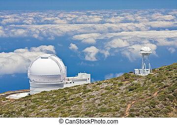 telescopen, hoogst, palma, piek, la