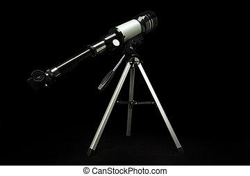 telescopio, aislado, encima, fondo negro