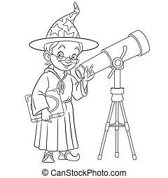 telescopio, astronomo, o, mago