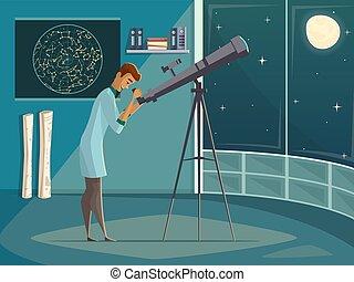 telescopio, cartone animato, manifesto, astronomo, retro