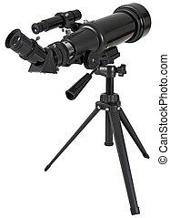 telescopio de la astronomía, con, trípode