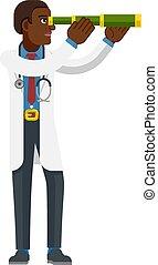 telescopio, doctor, spyglass, concepto