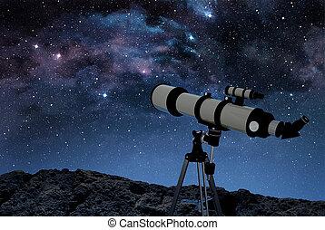 telescopio, en, rocoso, suelo, debajo, un, estrellado, cielo...