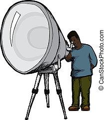 telescopio, hombre