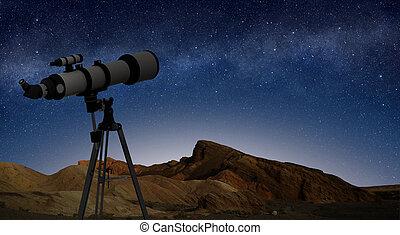 telescopio, indicare, cielo stellato, treppiede, notte