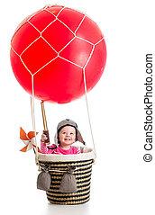 teleskop, balloon, air, chaud, enfant, chapeau, pilote