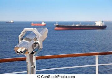 teleskop, deck, von, segeltörn, ship., viele, schiffe, in, fokus, weit, away.