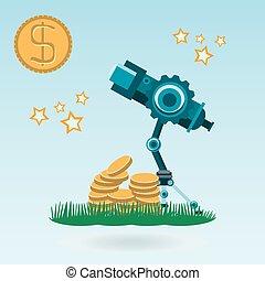 teleskop, guld peng, dollar, grön, stjärnor, gräs