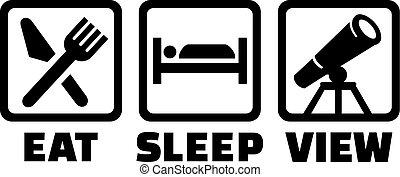 teleskop, -, schlaf, astronomie, essen, ansicht