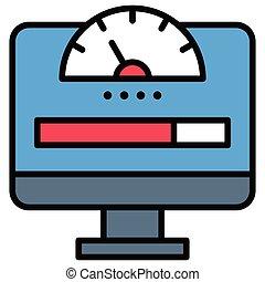teletrabajar, o, icono, ancho de banda, trabajo, remoto, red
