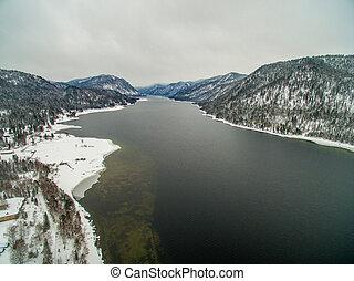 Teletskoye lake at winter. Aerial