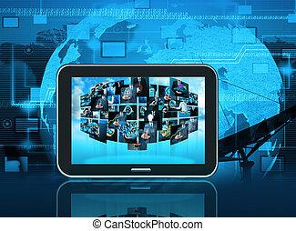 televízió, és, internet, termelés, .technology, és, ügy, conc