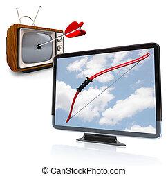 televízió, öreg, katódsugárcső, megüt, hdtv, mód, új