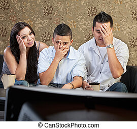 televízió, félénk, család