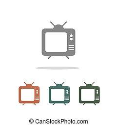 televízió, fehér, ikon, elszigetelt, háttér