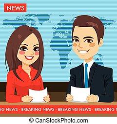 televízió news, newscasters