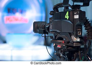 televízió studio, fényképezőgép