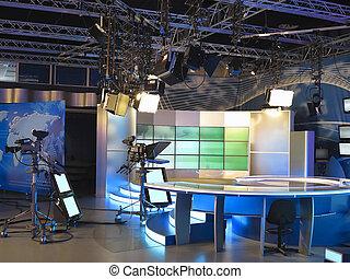 televízió studio, felszerelés, reflektorfény, csomóba köt,...