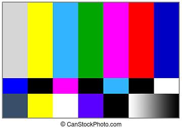 televízió, színezett, rács, jelez