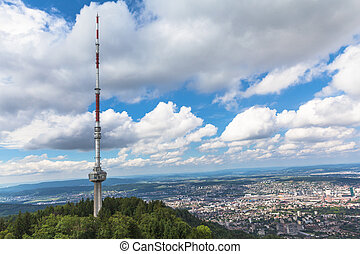 Televesion tower on top of uetliberg and the aerial view of  Zur