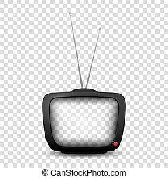 televisão, antigas, cima, realístico, tv., retro, escarneça