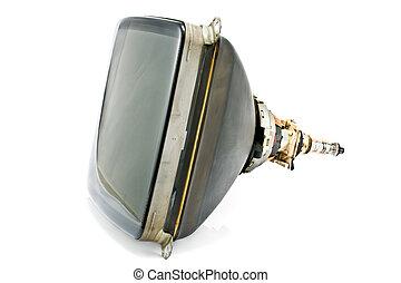 televisão, antigas, isolado, tubo, costas, cátodo, branca