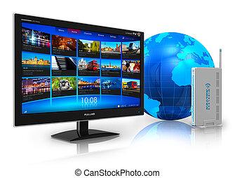 televisão, conceito, internet