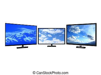 televisão, conjuntos, isolado, branco, fundo