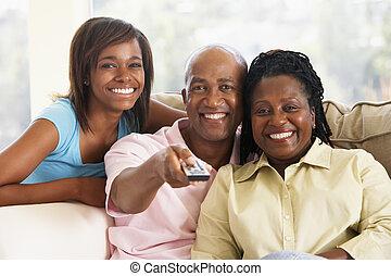 televisão, família, junto, observar