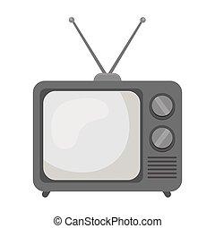 televisão, illustration., símbolo, estilo, isolado, experiência., vetorial, anunciando, monocromático, branca, ícone, estoque
