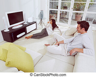 televisão, junto, observar