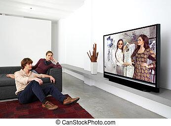televisão, l, junto, observar