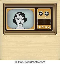 televisão, mensagem, fundo, retro