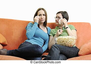 televisão, mulher, dois, observar