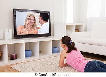 televisão, mulher, jovem, observar