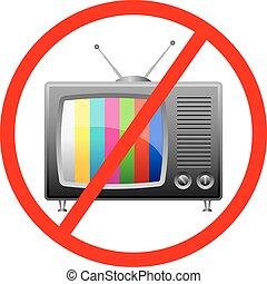 televisão, não, sinal