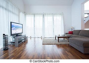 televisão plasma, em, desenho, sala