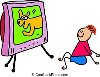 televisão prestando atenção
