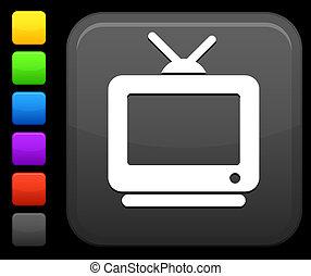 televisão, quadrado, botão, ícone, internet