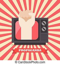 televisão, retro, punho, mão