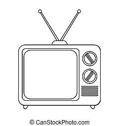 televisão, vetorial, illustration., ícone, símbolo, isolado, experiência., estilo, anunciando, branca, estoque, esboço