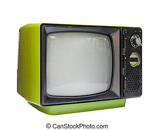 televisão, vindima, cortando, isolado, path., análogo